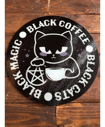 Black Cat, Black Coffee Glass Chopping Board