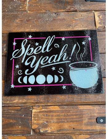 Spell Yeah Glass Chopping Board