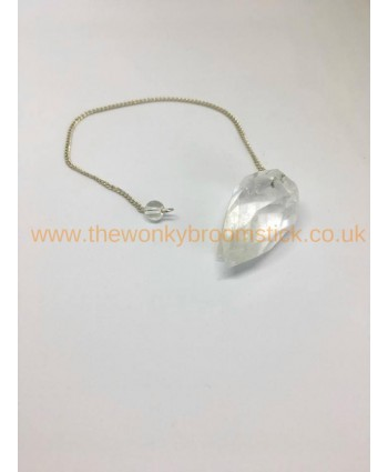 Faceted Clear Quartz Pendulum
