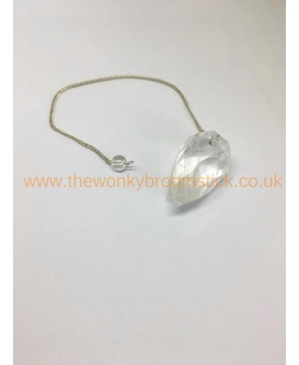 Faceted Clear Quartz Pendulum