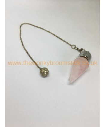 Silver Top Rose Quartz Pendulum