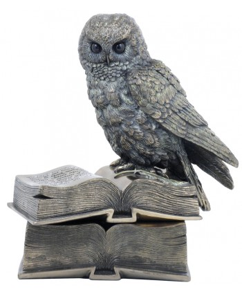 Wise Owl on Book Trinket Box