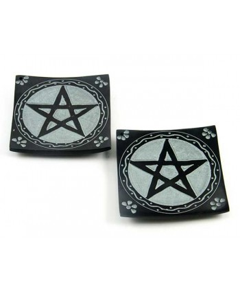 Black Pentagram Soapstone Plates - PAIR