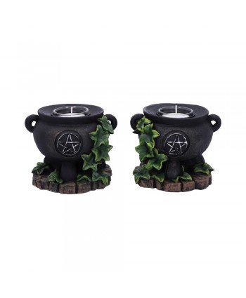 Pair of Ivy Cauldron Candle Holders