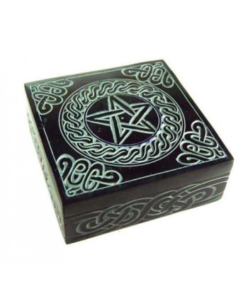 Black Pentagram Square Soapstone Box
