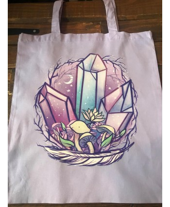 Lilac Crystal Mushroom Tote Bag