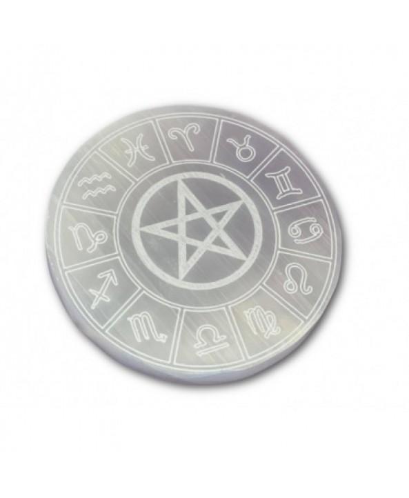 Selenite Zodiac Charging Plate - Large