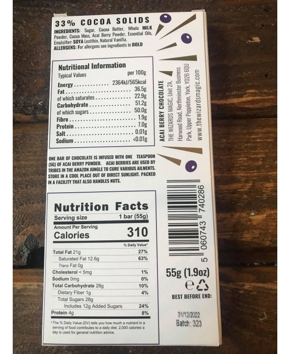 Wizards Enchanted Forest Chocolate Bar - Acai Berry