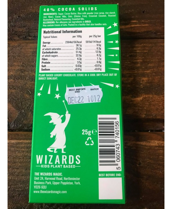 Wizards Kids Chocolate Bar - Plant Based - Orange